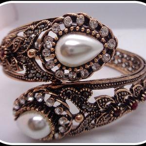 Vintage Bangle Lady's Pearl Handcraft Cuff Bracelt